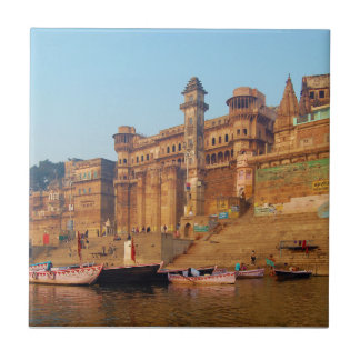 Varanasi India As Seen From Ganga River Ceramic Tile