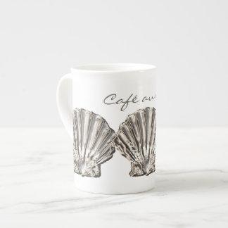 """Vare """"la cáscara blanca marrón del lait del au de tazas de porcelana"""