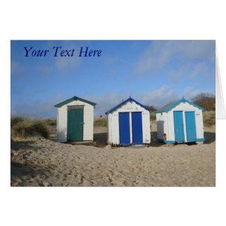 Vare las chozas y la foto inglesa de la playa de tarjeta pequeña