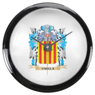 Varela Coat of Arms - Family Crest Aqua Clocks