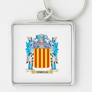 Varela Coat of Arms - Family Crest Silver-Colored Square Keychain