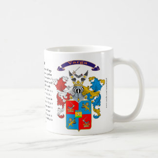 Varga Family Crest including the History and Meani Classic White Coffee Mug