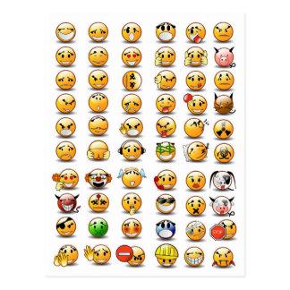 Variaciones de un emoticon sonriente de la cara postales