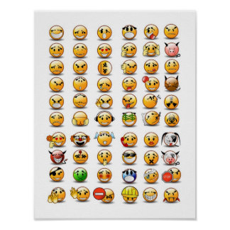 Variaciones de un emoticon sonriente de la cara póster