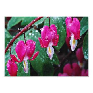 Varias flores de la planta y del agua del corazón invitación 12,7 x 17,8 cm
