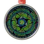Variated Spheres Vibrant Celtic Knot Metal Ornament