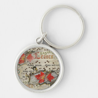 Variation 1-Fall Leaves Silver-Colored Round Keychain
