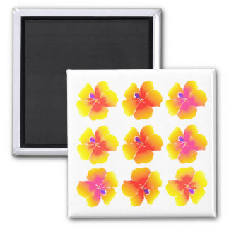 Variations on a Hibiscus 2 Inch Square Magnet