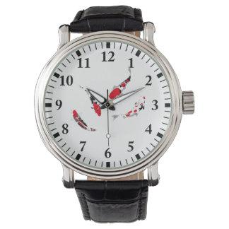 Varicolored carps wrist watch
