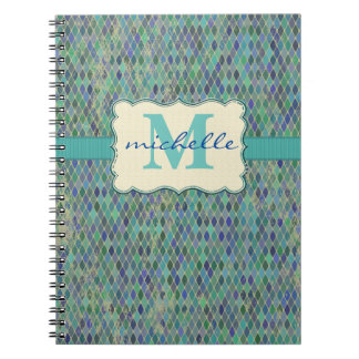 Varied Blue-Green Diamond Pattern & Monogram Notebook