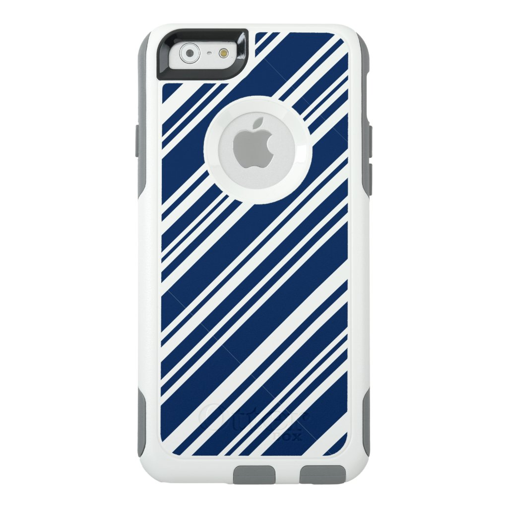 Varied Indigo Candy Stripes on White OtterBox iPhone 6/6s Case