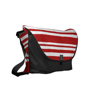 Varied Red and White Stripes, Black Trim Courier Bag