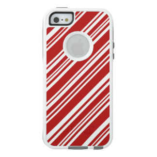 Varied Red Candy Stripes on White OtterBox iPhone 5/5s/SE Case