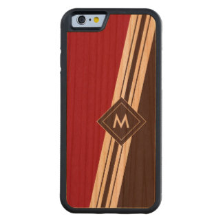 Varied Width Stripes Monogram Wood iPhone Carved Cherry iPhone 6 Bumper Case