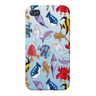 Variedad colorida de pescados iPhone 4 carcasas