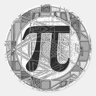 Variedad de rondas de los símbolos del día del pi etiqueta redonda