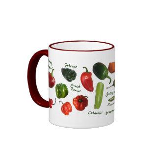 Variedades de la pimienta de chile taza de dos colores