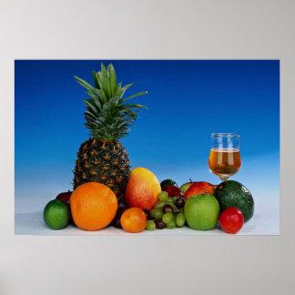 Variedades y jugo de fruta impresiones