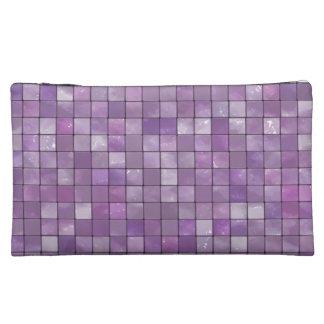 Variegated Amethyst Tile Pattern Makeup Bags