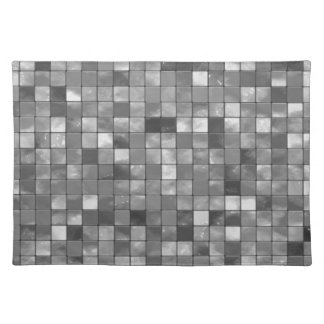 Variegated Black and White Tile Pattern Place Mats
