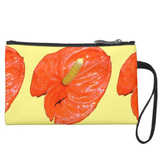 Variegated Chinese Lantern Sueded Mini Clutch Wristlet Purses