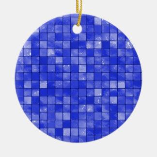 Variegated cobalt Blue Tile Pattern Ceramic Ornament