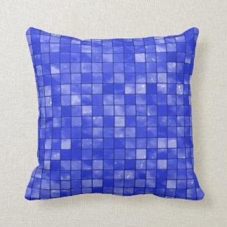Variegated cobalt Blue Tile Pattern Throw Pillow