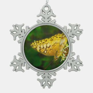 Variegated Fritillary Butterfly Photo Snowflake Pewter Christmas Ornament