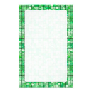 Variegated Green Decorative Tile Pattern Stationery