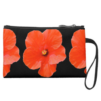 Variegated Hibiscus Sueded Mini Clutch Wristlet Purses