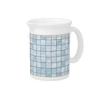 Variegated Pastel Aqua Tile Pattern Beverage Pitcher