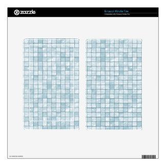 Variegated Pastel Aqua Tile Pattern Skin For Kindle Fire