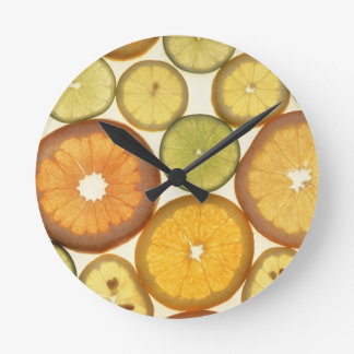 Variety of Citrus Fruit Slices Round Clock