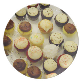 Variety of Mini Cupcakes Sweet Dessert Photograph Plate