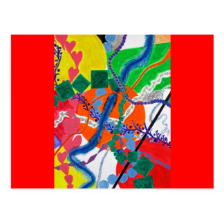 Variety of Paths Abstract Painting Postcard