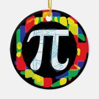 Variety of Pi Day Symbols Rounds Ceramic Ornament