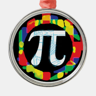 Variety of Pi Day Symbols Rounds Metal Ornament