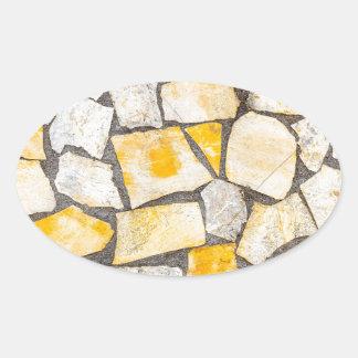 Variety of stones brickwork or masonry oval sticker