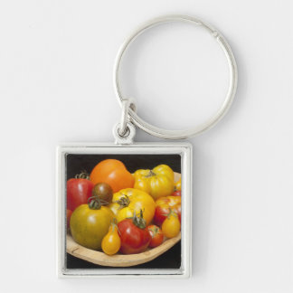 Variety of tomatoes Silver-Colored square keychain