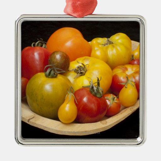 Variety of tomatoes square metal christmas ornament