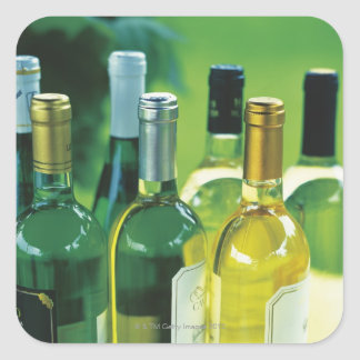 Variety of wine bottles square sticker