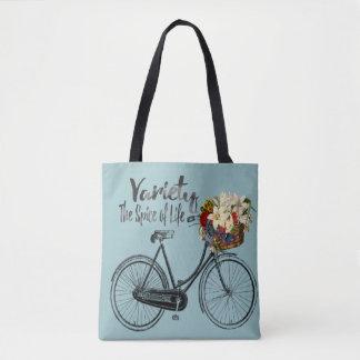 Variety the spice of life bike sea foam tote bag