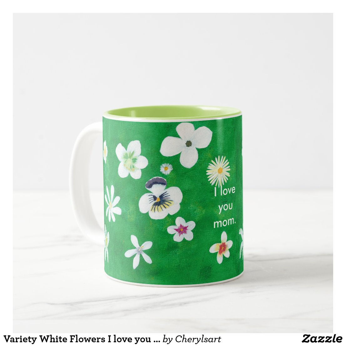 Variety White Flowers I love you Mom Mugs