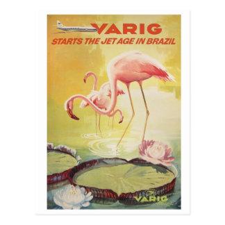 Varig Vintage Poster for Brazil Postcard