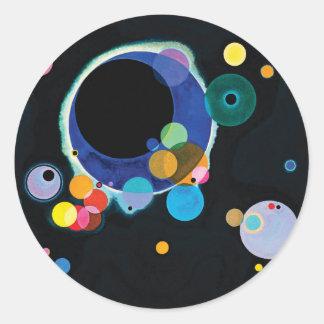 Varios círculos de Wassily Kandinsky Pegatina Redonda