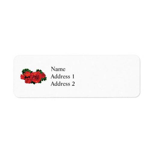 Varios geranios rojos etiqueta de remite