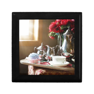 Various and useful objects with tea set gift box