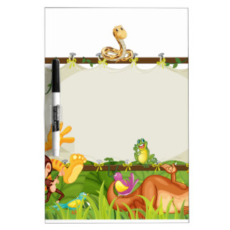 various animals on earth globe dry erase whiteboards