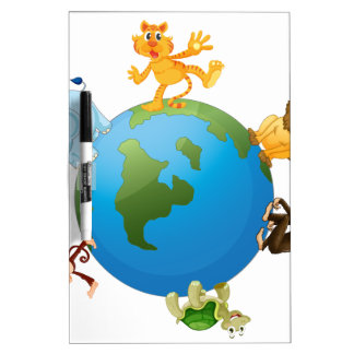 various animals on earth globe Dry-Erase board