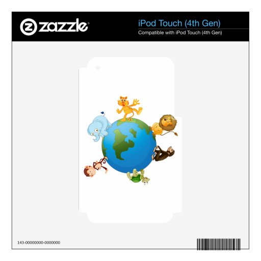 various animals on earth globe skins for iPod touch 4G